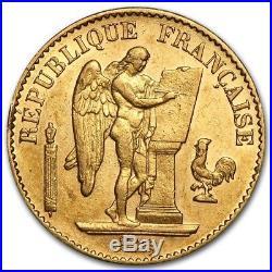 20 Francs French Lucky Angel Gold Coin AGW. 1867 oz AGW Random Date