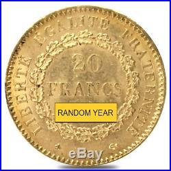 20 Francs French Lucky Angel Gold Coin AGW. 1867 oz BU (Random Year)