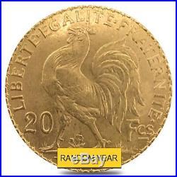 20 Francs French Rooster Gold Coin AU AGW. 1867 oz (Random Year)