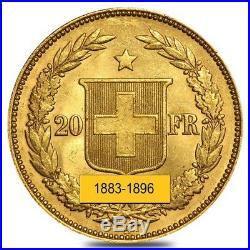 20 Francs Swiss Helvetica Gold Coin Avg Circ AGW. 1867 oz 1883-1896, Random