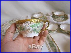 39 Pc LIMOGES Dish Set Pink Poppies Heavy Gold Gilt J. P. France BEAUTIFUL