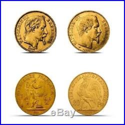 4 Pc 20 Franc Gold Coin Type Set (Nap Bare Head, Nap Laureate, Angel & Rooster)