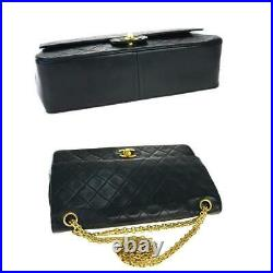 $5500 Chanel Mademoiselle Double Flap Lambskin Medium Black Leather Shoulder Bag