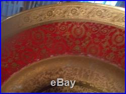 5 Gold Encrusted ROYAL CHINA FRANCE 10.5 Dinner Plates Red Band 2/Gold Design