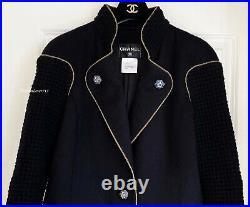 $6050 Chanel 15a Salzburg Black Gold Gripoix Wool Tweed Coat Jacket 42