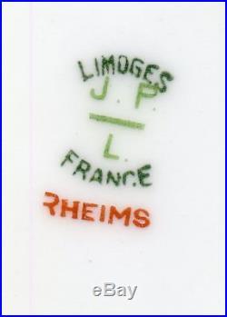 (61pc) LIMOGES DISH SET FLOWER DESIGN HEAVY GOLD GILT J. P. L. FRANCE RHEMS