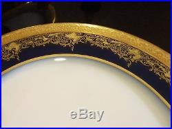 6 William Guerin Limoges France 11 Cobalt Dinner/Cabinet Plates Gold Encrusted