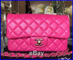 ADORABLE CHANEL FUCHSIA PINK LAMBSKIN MINI RECT CLASSIC FLAP BAG with Gold HW
