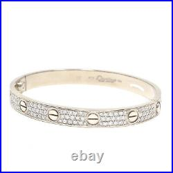 AUTHENTIC CARTIER Love Bracelet Bangle in 18k White Gold, Size 16 (C-324)