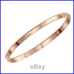 AUTHENTIC CARTIER SM Love Bracelet in 18k Rose Gold, Size 17 Thin (C-319)