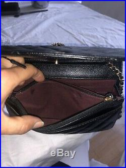 AUTHENTIC CHANEL Classic Black Caviar Wallet On Chain Bag Gold withRECIPT+Box+tag