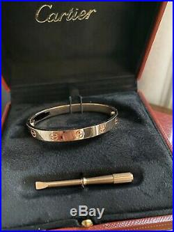 AUTHENTIC-Cartier Love Bracelet Bangle 18K Rose Gold Size 16