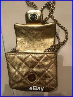 AUTH Chanel 2.55 Gold Mini Small Micro Vintage Crossbody BAG BELT VERY RARE