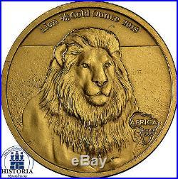 Africa Series 2013 Gabon 5000 Francs Lion 1/8 Gold Ounce Antique Finish