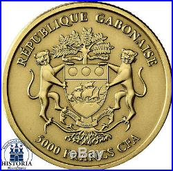 Afrika Serie Gabun 5000 Francs 2012 African Elephant 1/8 Gold Ounce