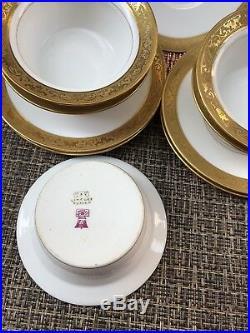 Ant Set Of 5 T. V. FRANCE LIMOGES Gold Trim Salad Bowls RAMEKIN With Under-plates