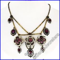 Antique 14k Gold Amethyst Seed Pearl Rose De France Festoon Chandelier Necklace