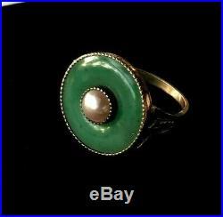 Antique 14k Solid Gold Jade Pearl Ring Paris, France c1940s