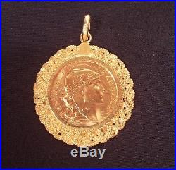 Antique 18K Gold Rooster French 20 Franc 1907 Coin Medallion Pendant Necklace