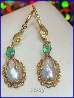 Antique 18k Gold Silver Gray Baroque Pearl Earrings & Emerald Edwardian Wedding