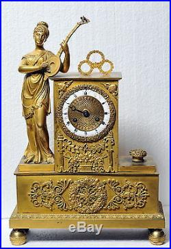 Antique 19th century French Figural Gilt Bronze Clock Muse with Mandolin