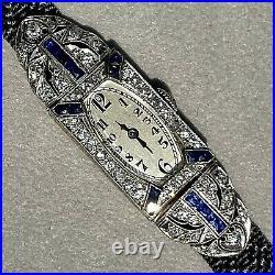Antique Art Deco European Diamond Blue Sapphire Platinum Tonneau Watch 1920s