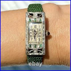 Antique Art Deco European Diamond Emerald Sapphire Platinum Tonneau Watch 1920s