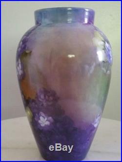 Antique B. &C. Limoges France Vase Hand Painted Violets And Gold Gilded