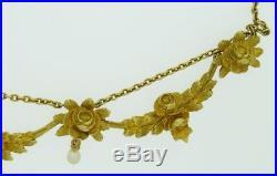 Antique French Art Nouveau 18K Gold Pearl Diamond Festoon Swag necklace 17.7 gr