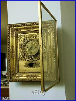Antique French/Austrian Fancy Picture Gold Color Frame Wooden Clock