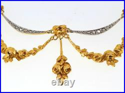 Antique French Edwardian 18K Gold Girondelle Blossoming Roses Diamond Necklace
