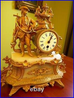 Antique French Figural Gilt Bronze Hunter Ornate Marble Mantal Clock