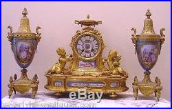 Antique French Gilt Bronze Porcelain 3 Piece Clock Roy & Fill, Urns P. H. Mourey