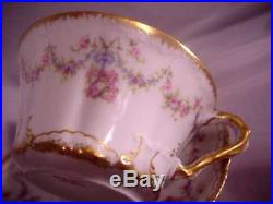 Antique Haviland Limoges France 597 Tea Cup And Saucer Bows Wreaths Double Gold