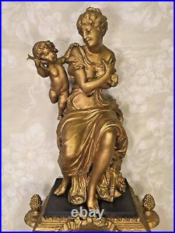 Antique Japy Freres Gold and Black French Clock Woman with Cupid Topper