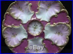 Antique LS & S Limoges France Pink Gold Gilt Oyster Plate