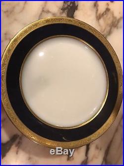Antique Limoges T & V France Set Of 7 Dinner Plates Cobalt Blue Heavy Gold