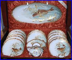 Antique Rare French Limoges Hand Painted Raised Gold Porcelain Fish Set withBox