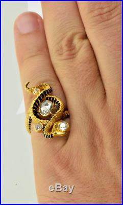 Antique Rene Lalique/Paul Briancon 18K Gold Enamel 4.0 Carat Diamond Snake ring