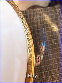 Antique Set of 10 T. Haviland Limoges France Salad Plates Gold Encrusted D 8,5