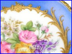 Antique Sevres France PORCELAIN & ORMOLU FOOTED COMPOTE HANDPAINTED FLOWERS GOLD