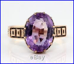 Antique Victorian 10k Rose Gold Rose De France Amethyst Purple Ring, 1880s