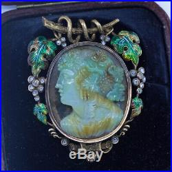 Antique Victorian Cameo Brooch Pendant 18k Gold Diamonds Enamel Moss Agate(6721)