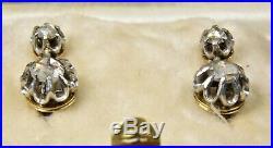 Antique Victorian French 18ct Gold Diamond Drop Earrings, c1880, Original Case