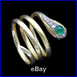 Antique Victorian Snake Ring 18k Gold Diamonds Emerald French (6673)