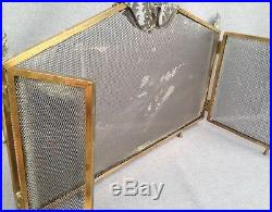 Antique bronze fireplace screen grid France early 1900's Empire style