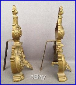 Antique pair of bronze andirons France early 1900's fireplace Napoleon III