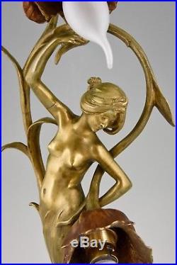 Art Nouveau bronze lamp nude lady & flowers Louis & François Moreau France 1900