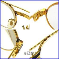 Auth CARTIER Logos Reading Glasses Eye Wear Gold Clear Bordeaux Vintage AK16923h