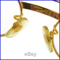 Auth CARTIER Logos Reading Glasses Eye Wear Gold Clear Vintage France AK16968j